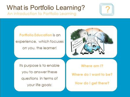 What is Portfolio Learning? An introduction to Portfolio Learning ? Portfolio Education is an experience, which focuses on you, the learner! Where am I?