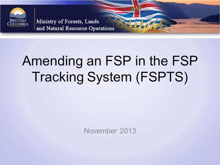 Amending an FSP in the FSP Tracking System (FSPTS) November 2013.