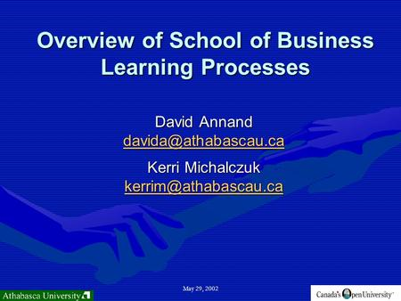 May 29, 2002 Overview of School of Business Learning Processes David Annand Kerri Michalczuk