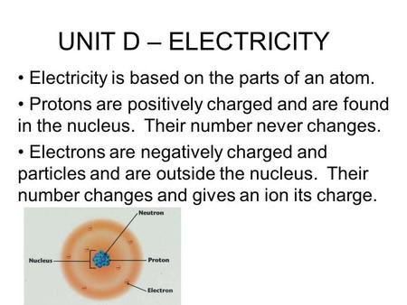 UNIT D – ELECTRICITY Electricity is based on the parts of an atom. Protons are positively charged and are found in the nucleus. Their number never changes.