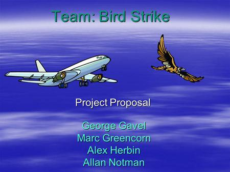 George Gavel Marc Greencorn Alex Herbin Allan Notman Project Proposal Team: Bird Strike.
