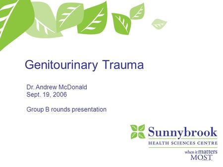Genitourinary Trauma Dr. Andrew McDonald Sept. 19, 2006 Group B rounds presentation.