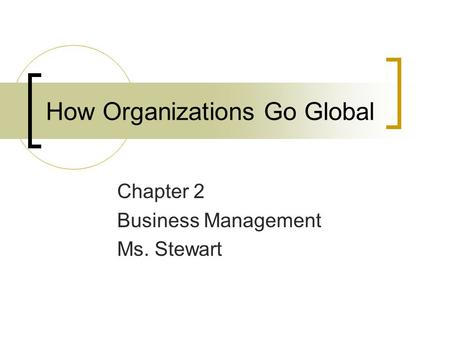 How Organizations Go Global Chapter 2 Business Management Ms. Stewart.