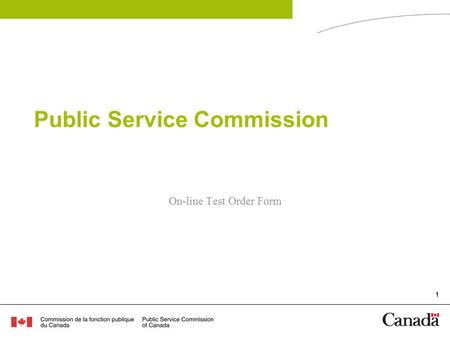 1 Public Service Commission On-line Test Order Form.