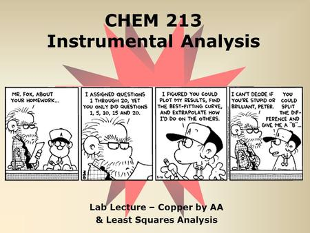 CHEM 213 Instrumental Analysis Lab Lecture – Copper by AA & Least Squares Analysis.