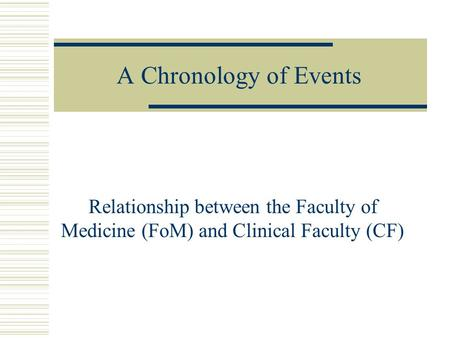A Chronology of Events Relationship between the Faculty of Medicine (FoM) and Clinical Faculty (CF)