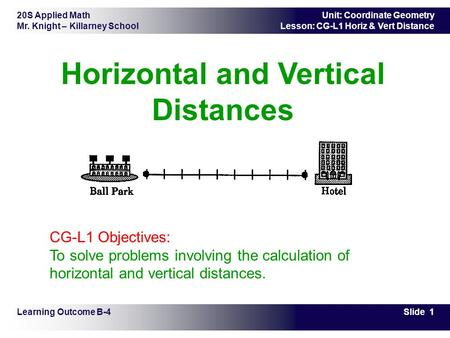 Horizontal and Vertical Distances