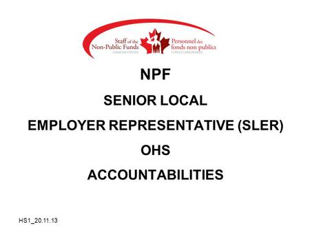 NPF SENIOR LOCAL EMPLOYER REPRESENTATIVE (SLER) OHS ACCOUNTABILITIES HS1_20.11.13.