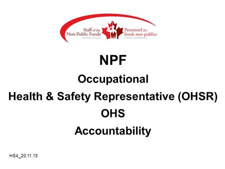 Health & Safety Representative (OHSR)