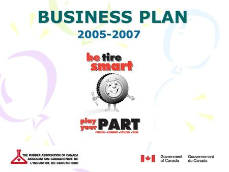 BUSINESS PLAN 2005-2007. History How the Be Tire Smart Campaign began Objectives of the campaign  Target audience Partnership with NRCan.