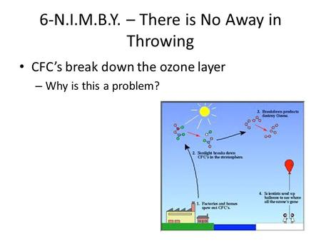 6-N.I.M.B.Y. – There is No Away in Throwing CFC's break down the ozone layer – Why is this a problem?