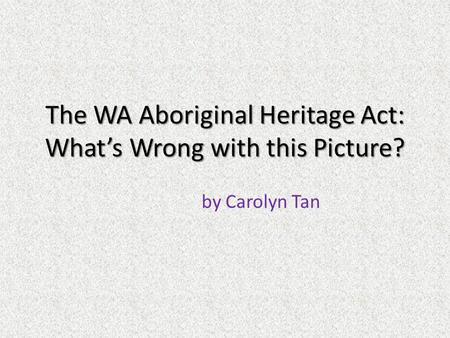 The WA Aboriginal Heritage Act: What's Wrong with this Picture? by Carolyn Tan.