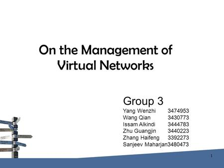 On the Management of Virtual Networks Group 3 Yang Wenzhi 3474953 Wang Qian 3430773 Issam Alkindi 3444783 Zhu Guangjin 3440223 Zhang Haifeng 3392273 Sanjeev.