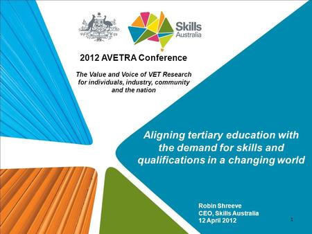 Robin Shreeve CEO, Skills Australia 12 April 2012 2012 AVETRA Conference The Value and Voice of VET Research for individuals, industry, community and the.