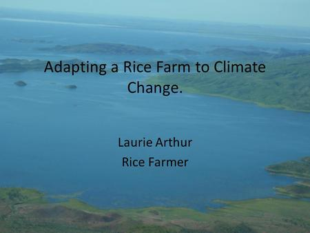 Adapting a Rice Farm to Climate Change. Laurie Arthur Rice Farmer.