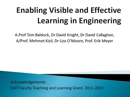 A.Prof Tom Baldock, Dr David Knight, Dr David Callaghan, A/Prof. Mehmet Kizil, Dr Liza O'Moore, Prof. Erik Meyer Acknowledgements: EAIT Faculty Teaching.