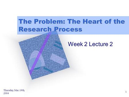 Thursday, Mar. 19th, 2004 1 The Problem: The Heart of the Research Process Week 2 Lecture 2.
