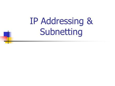 IP Addressing & Subnetting. Introduction You can probably work with decimal numbers much easier than with the binary numbers needed by the computer. Working.