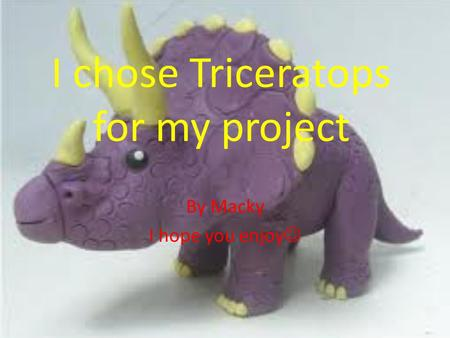 I chose Triceratops for my project By Macky I hope you enjoy.