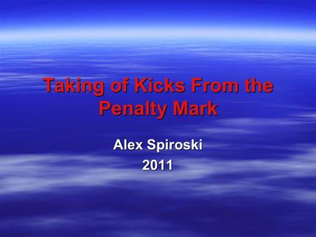 Taking of Kicks From the Penalty Mark Alex Spiroski 2011.