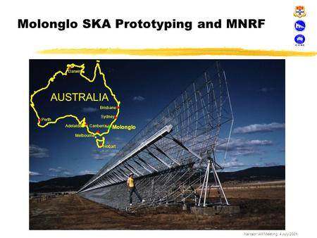Narrabri AM Meeting, 4 July 2001 Molonglo SKA Prototyping and MNRF Molonglo AUSTRALIA Brisbane Darwin Perth Canberra Hobart Adelaide Melbourne Sydney +