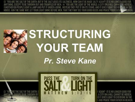 STRUCTURING YOUR TEAM Pr. Steve Kane. T.E.A.M. Together Everyone Achieves More.