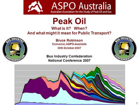 1 Peak Oil What is it? When? And what might it mean for Public Transport? Bruce Robinson Convenor, ASPO-Australia 30th October 2007 Bus Industry Confederation.