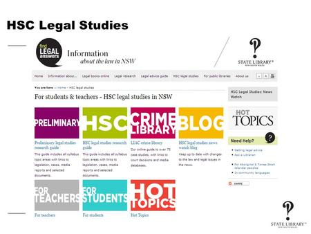 HSC Legal Studies. Legal Studies resources on the internet – HSC and Preliminary In this session you will learn about: Online databases you can use to.