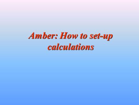 Amber: How to set-up calculations. Preliminary Remarks Amber is a very sophisticated piece of scientific software and as such requires some amount of.