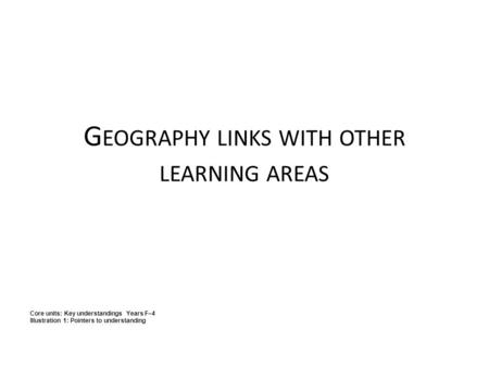 Geography links with other learning areas