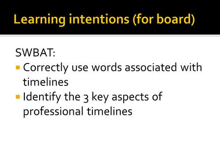 SWBAT:  Correctly use words associated with timelines  Identify the 3 key aspects of professional timelines.