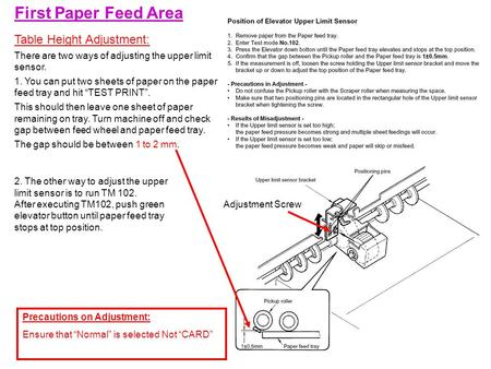 First Paper Feed Area Table Height Adjustment: There are two ways of adjusting the upper limit sensor. 1. You can put two sheets of paper on the paper.