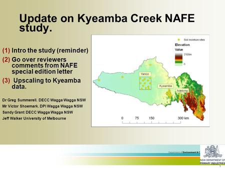 1 Update on Kyeamba Creek NAFE study. (1)Intro the study (reminder) (2)Go over reviewers comments from NAFE special edition letter (3) Upscaling to Kyeamba.