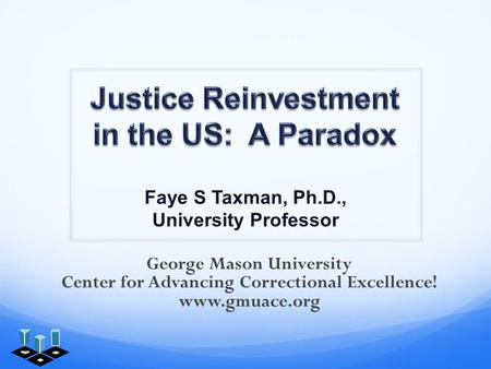 Faye S Taxman, Ph.D., University Professor George Mason University Center for Advancing Correctional Excellence! www.gmuace.org.