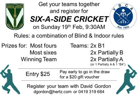 "SIX-A-SIDE CRICKET 2x B1 2x Partially B 2x Partially A (or 1 Partially A & 1 ""B4"") Teams:Prizes for: Most fours Most sixes Winning Team Rules: a combination."
