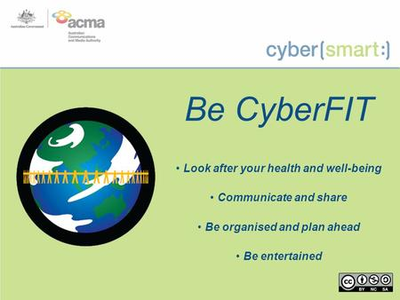 Be CyberFIT Look after your health and well-being Communicate and share Be organised and plan ahead Be entertained.