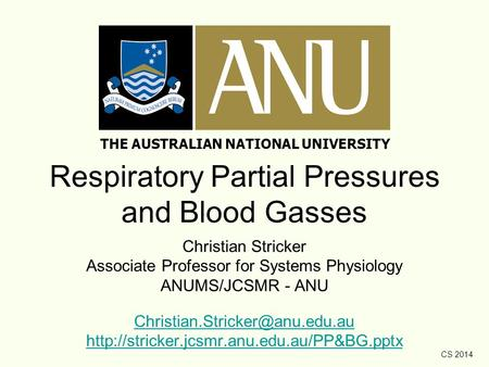CS 2014 Respiratory Partial Pressures and Blood Gasses Christian Stricker Associate Professor for Systems Physiology ANUMS/JCSMR - ANU