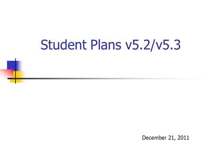 Student Plans v5.2/v5.3 December 21, 2011. 2 Enhancements & Corrections! Eligible/Not Eligible wording changes, now shows on web as well as PDF My Evaluations.