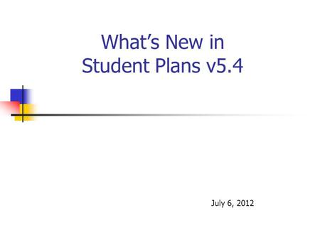 What's New in Student Plans v5.4 July 6, 2012. My Cases Screen Mgrs icon will bring up Case Managers for student Can also sort case load by assignment.
