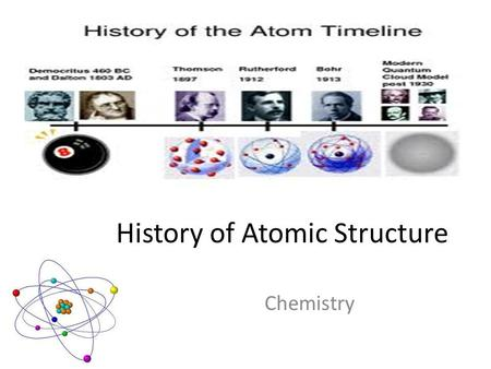 History of Atomic Structure Chemistry. Democritus (460-370 BC) Goal of Greek philosophers was to explain the natural world  Believed that all materials.
