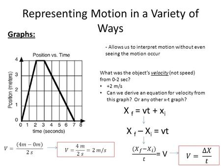 Representing Motion in a Variety of Ways Graphs: - Allows us to interpret motion without even seeing the motion occur What was the object's velocity (not.