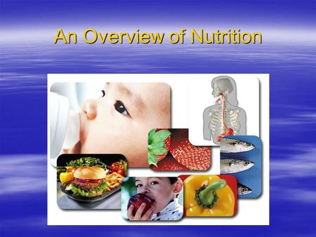 An Overview of Nutrition Terminology  nutrition –the science of foods and the substances they contain  food –derived from plant or animal sources 
