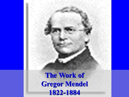 The Work of Gregor Mendel 1822-1884 1st person to trace successive generations of living things Augustinian Monk – Brunn, Austria taught natural science.