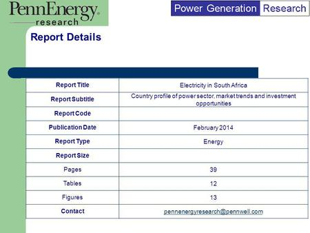 BI Marketing Analyst input into report marketing Report TitleElectricity in South Africa Report Subtitle Country profile of power sector, market trends.