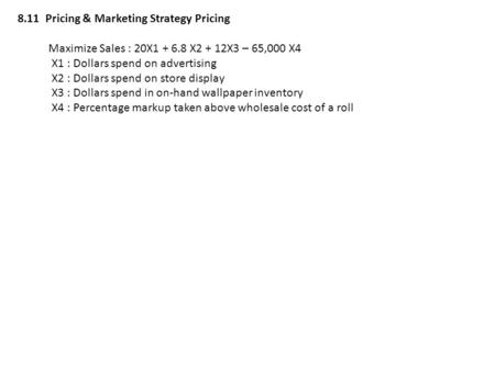 8.11  Pricing & Marketing Strategy Pricing