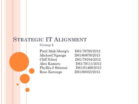 Strategic IT Alignment