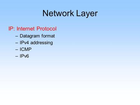 Network Layer IP: Internet Protocol –Datagram format –IPv4 addressing –ICMP –IPv6.