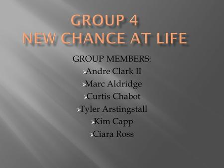 GROUP MEMBERS:  Andre Clark II  Marc Aldridge  Curtis Chabot  Tyler Arstingstall  Kim Capp  Ciara Ross.