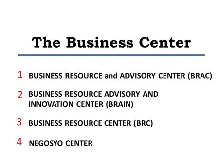 The Business Center BUSINESS RESOURCE and ADVISORY CENTER (BRAC) BUSINESS RESOURCE ADVISORY AND INNOVATION CENTER (BRAIN) BUSINESS RESOURCE CENTER (BRC)