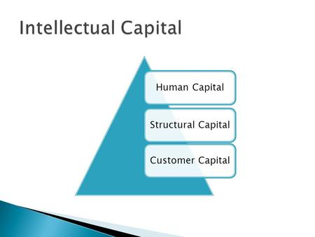 Human CapitalStructural CapitalCustomer Capital.  Is crucial to building a successful business.  Involves developing a game plan to guide a company.
